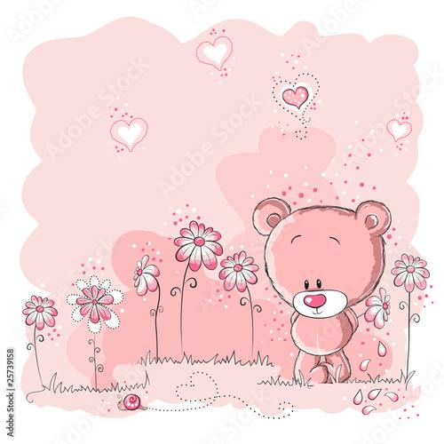 Pink cute bear holding a flower #25739158