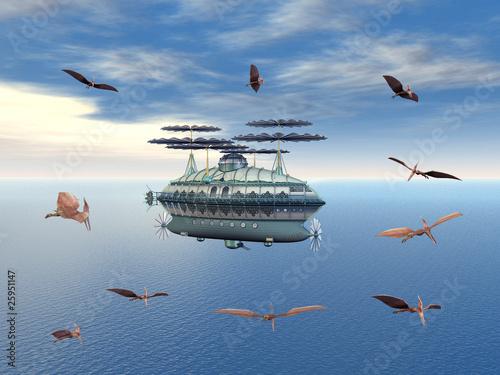 Wallpaper Mural Fantasy Airship with flying Dinosaurs
