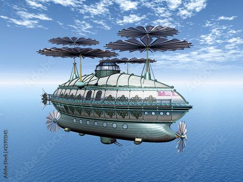 Canvas Print Luftschiff über dem Ozean