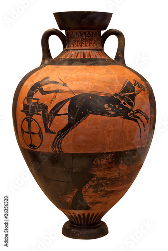 Ancient greek vase depicting a chariot  isolated on white