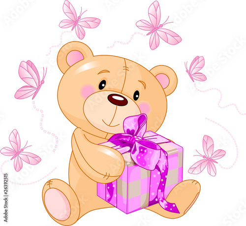 Teddy Bear with pink gift #26392515