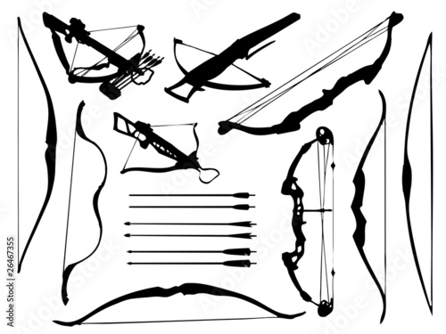 Canvas Weapon collection, bow, crossbow and arrows