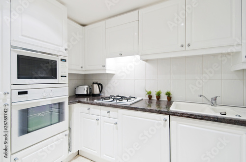 fully fitted white kitchen