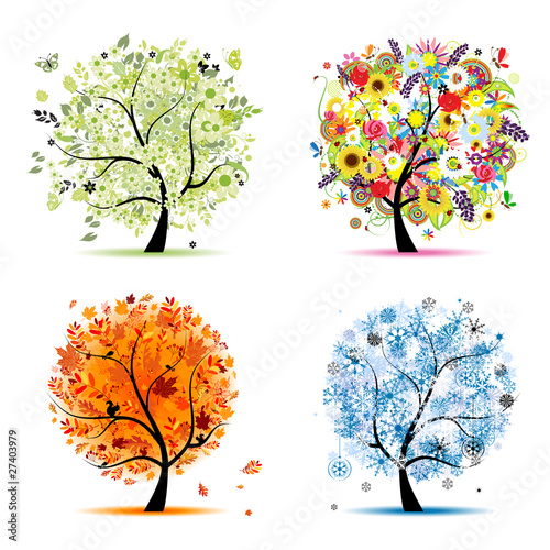 Four seasons - spring, summer, autumn, winter. Art trees #27403979