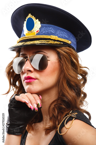 Fotografia Sexy police officer woman with sunglasses