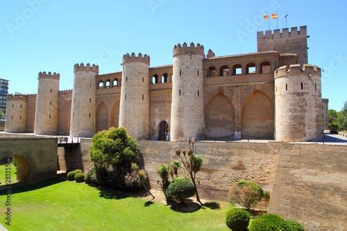 Aljaferia palace castle in Zaragoza Spain Aragon