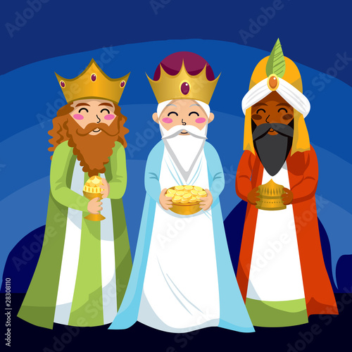 Fotografiet Three Wise Men bring gifts to Jesus on Christmas