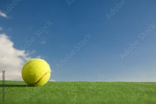 Wallpaper Mural Tennis ball on grass against blue sky