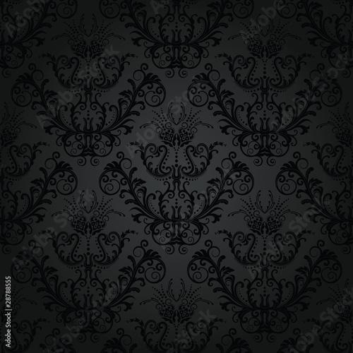 Fototapeta Luxury charcoal floral wallpaper