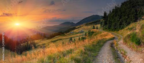 Obraz na plátně Summer landscape in the mountains. Sunset