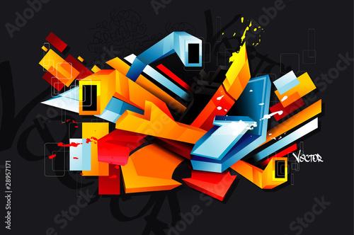 3d urban graffiti vector