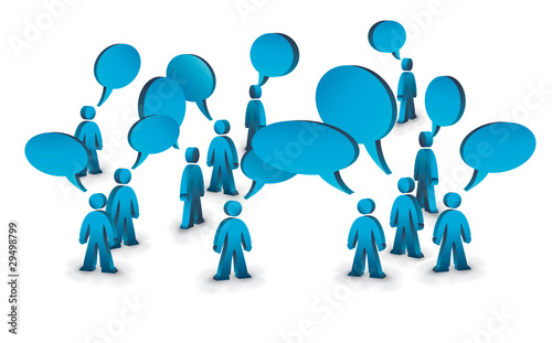a group of people with speech bubbles above them Fototapet
