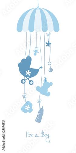 Baby Card Mobile Symbols Boy Blue #29874915