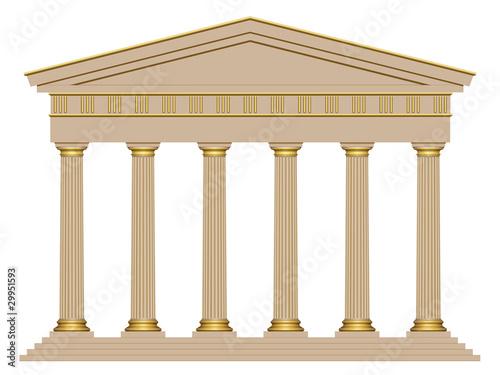 Façade d'un temple avec 6 colonnes Fotobehang