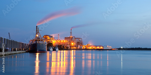 Wallpaper Mural chemical plant with ships