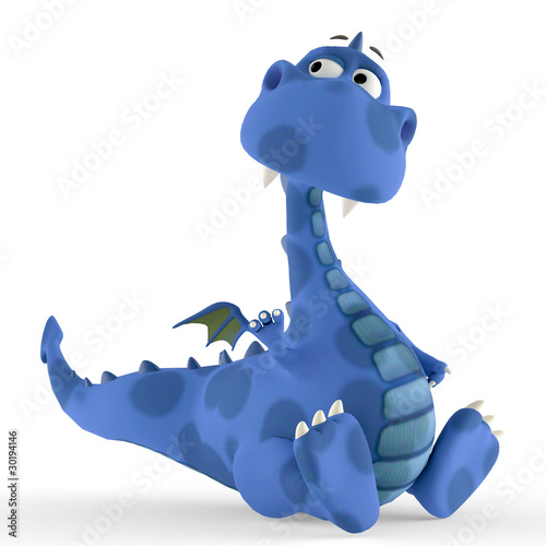 dino blue dragon baby sitting down