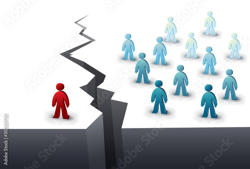 one person is separated from the team by a chasm Fototapet