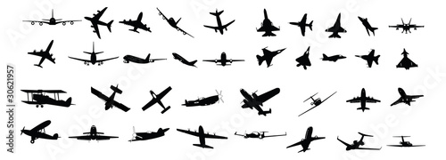 Obraz na plátně miltary, passenger, propeller and business aircraft silhouettes