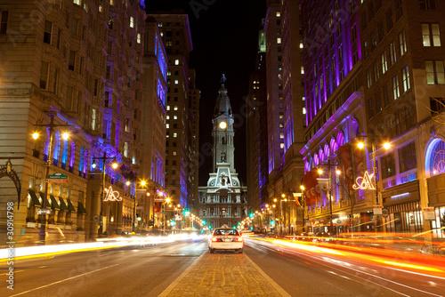 Leinwand Poster Philadelphia streets  by night