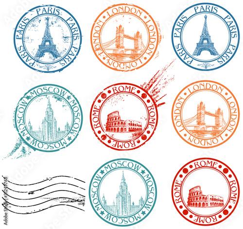 Vászonkép City stamps collection