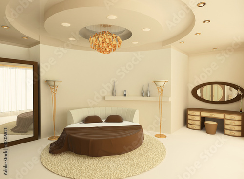 Wallpaper Mural Round bed with a suspended ceiling in a luxurious bedroom
