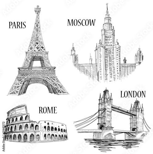 European cities sketched symbols #31441372