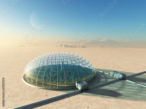 Fotomural futuristic greenhouse in desert