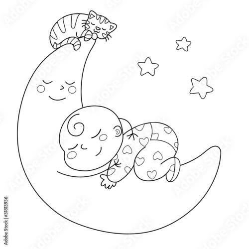 Czuły księżyc z dzieckiem, które śpi