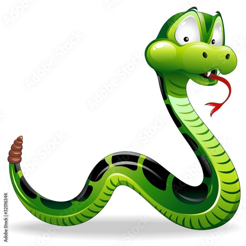 Serpente Cartoon-Green Snake Cartoon-Vector #32016344