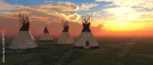 Canvas Print Native American Teepees
