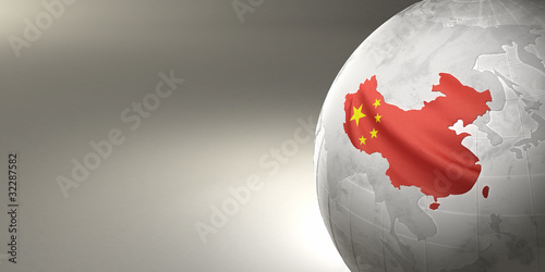 Tablou Canvas Map of the China on Earth in the national colors
