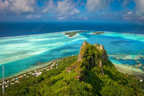 Stampa su Tela View on the peak mountain, Maupiti, French Polynesia