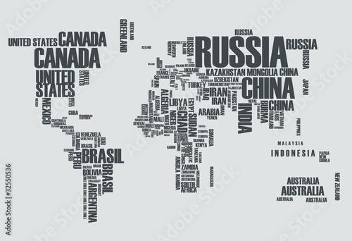 Obraz premium Mapa świata: kontury kraju składają się ze słów