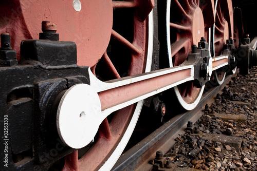 Canvas Print Close-up Detail of Retro Steam Train Wheels