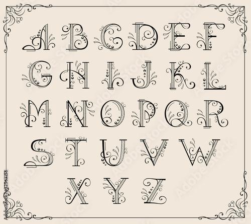 Obraz na płótnie Calligraphic alphabet