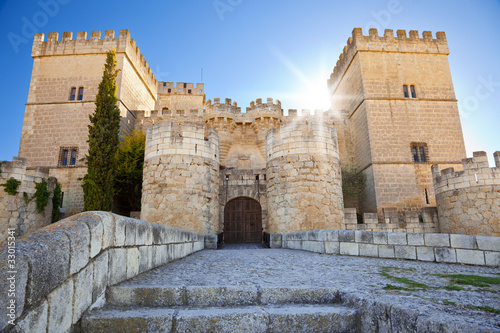 Tiedra Castle at sunset. Province of Palencia, Spain