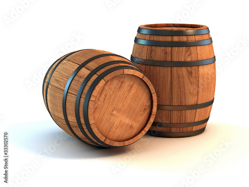 two wine barrels isolated on the white background Fototapet