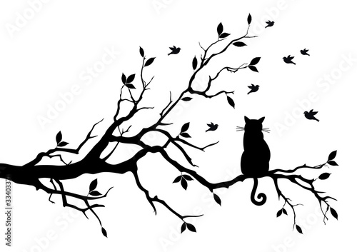 cat on a tree with birds, vector #33403371