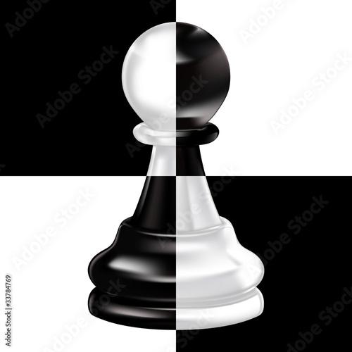 Fotografia black white pawn on chessboard