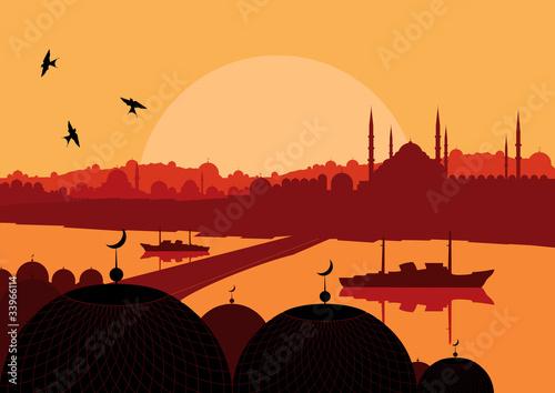 Billede på lærred Turkish country landscape illustration