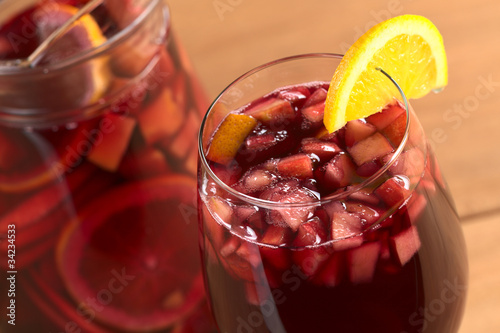 Fototapeta Refreshing red wine punch called sangria with fresh fruits