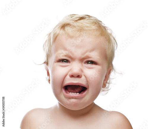 Photo crying baby girl isolated