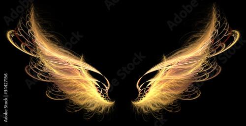 Demon Angel Fire hell Wings Fototapeta