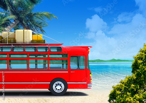 Canvas Print red bus adventure on beach
