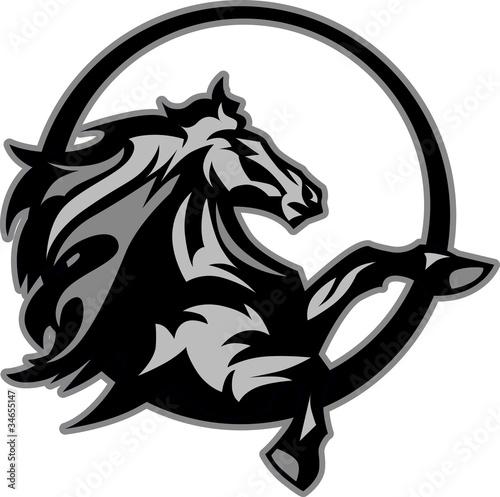 Fotografie, Obraz Mustang Stallion Graphic Mascot Image