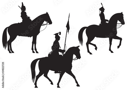 Fotografiet Cavalry Horse riders vector silhouettes part 2
