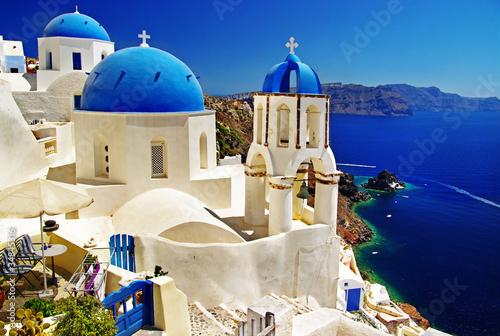 beautiful Santorini view of caldera with churches