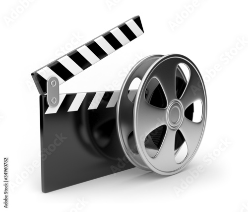 Film and  clap board movies symbol 3d. Isolated on white #34960782