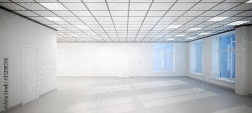 Fotografía big empty white room office with three windows