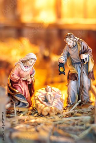 Fotografia, Obraz Weihnachtskrippe Holzfiguren